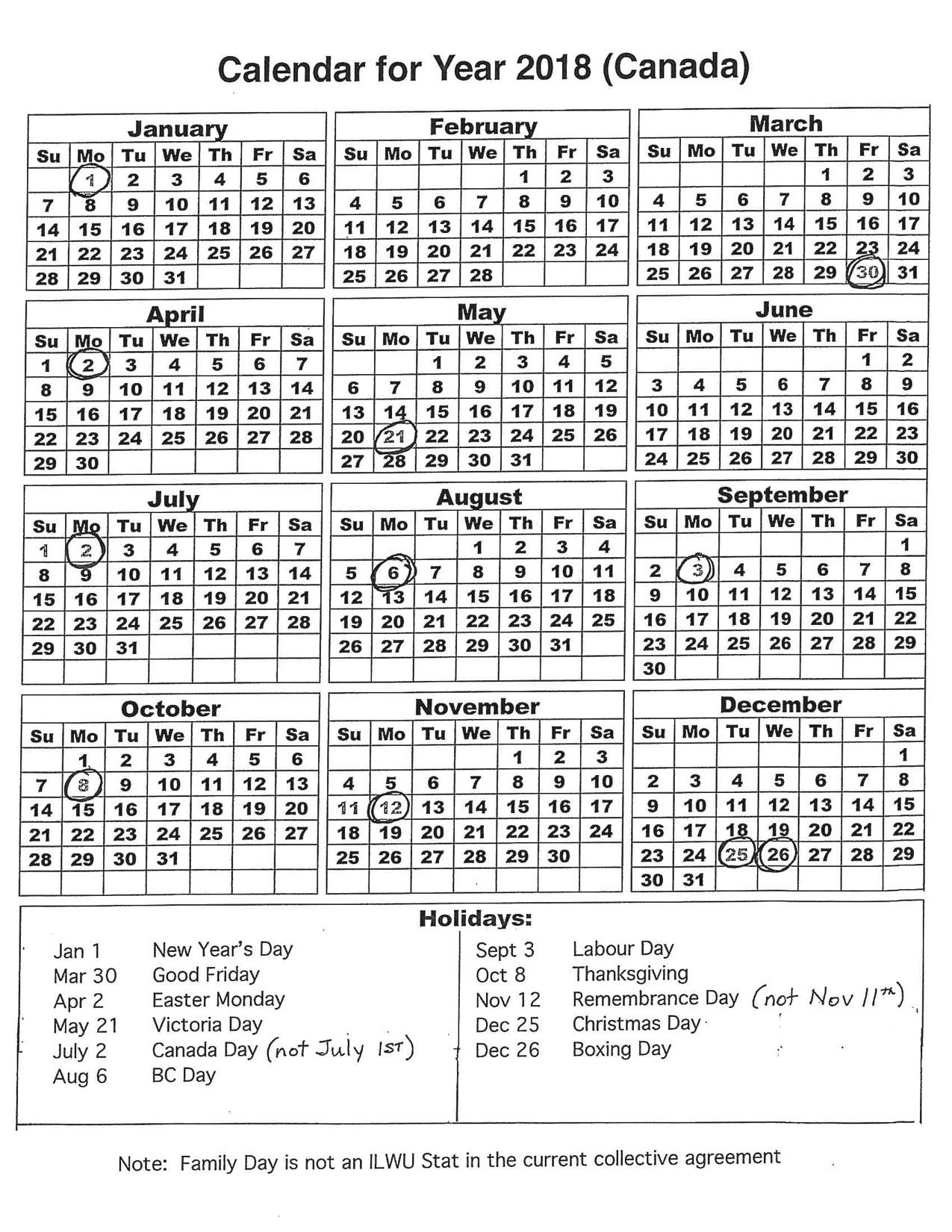 2018 stats calendar pdf