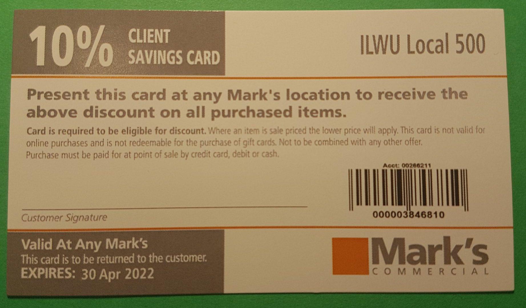 Mark's Discount Card